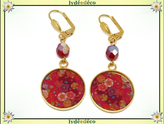 Earrings Golden brass gold 24 carat tree Japan red orange resin SAKURA beads gift mother's day wedding anniversary