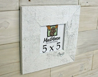 """5x5 PAINTED WHITE Barn Wood [Thin x 3""""] Picture Frame"""