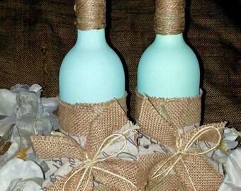 Decorative Wine Bottles, Tiffany Blue decor, Shabby Chic decor, Rustic Wine Bottles, Painted bottles, Set of Two