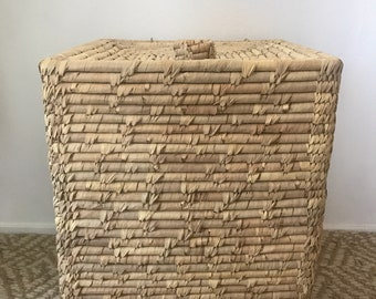 Vintage Large Seagrass Coiled Basket with Lid