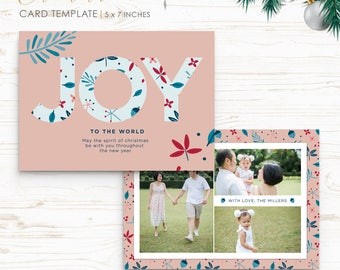 Christmas Card Template - Holiday Card Template - Photo Card Template - Instant Download - CRC017
