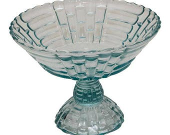Vintage Blue Glass Compote