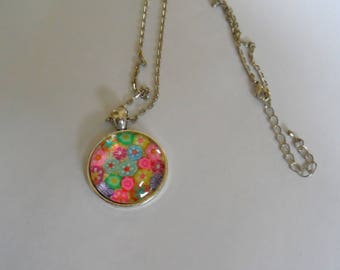 Pendant necklace millefiori polymer, mosaic necklace, silver chain, creating Mozalicia