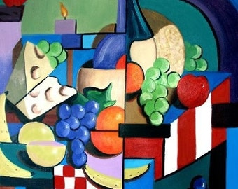 Bottle Of Wine Fruit Of The Vine Poster / Print Giclee Cubism Fruit Cheese  Print Anthony Falbo