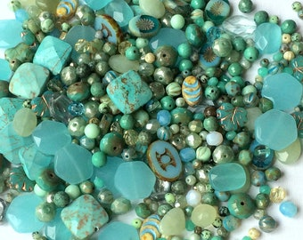 Aqua Bead Mix- grab bag beads- glass and stone bead assortment- 20 grams