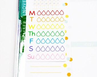 15 Rainbow Waterdrop Side Stickers! Track your water intake! For Erin Condren Life Planner, Plum Paper, Filofax, Kikkik,agenda! #SQ00721