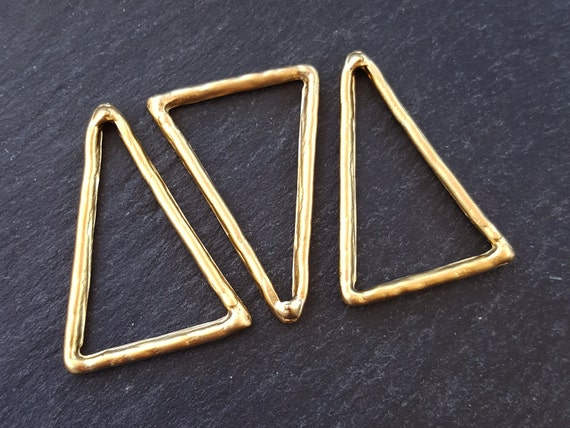 Triangle Link Pendant Geometric Frame Connector 22k Matte Gold Plated Turkish Jewelry Making Supplies Findings Component   3pc by Etsy
