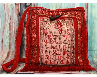 Armenian Alphabet Messenger Bag, Armenian Letter Gifts, Armenian Unique Gift, Carpet Rugs, Ethnic Handbags, Boho Bags, Ethnic Fashion,