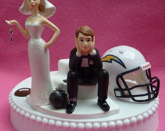 Wedding Cake Topper Los Angeles Chargers LA Football (formerly San Diego) Themed Ball and Chain Key w/ Garter Sports Fan Bride and Groom Fun