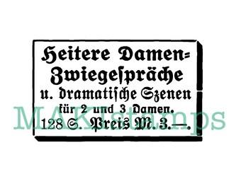 Vintage style german text stamp / Invitation stamp / collage stamp Ladies night - unmounted or cling stamp (160514)