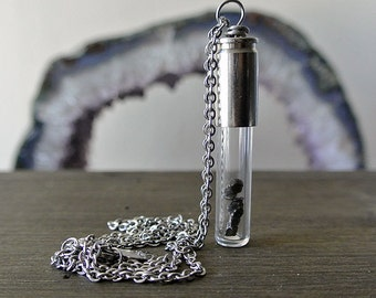 Meteorite Necklace. Shooting Star Glass Vial Bullet Pendant. Unique Gift for Space Lovers. The Apollo Necklace.