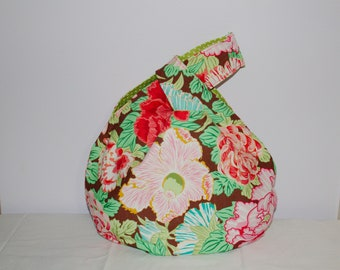 Japanese Knot Bag/Knitting Bag   Hibiscus print