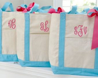 Monogrammed Bridesmaids Gift totes Large boat totes personalized