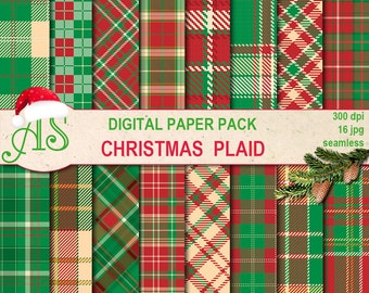Digital Christmas Plaid Seamless Paper Pack, 16 printable Digital Scrapbooking papers, new year tartan, Instant Download, set 351