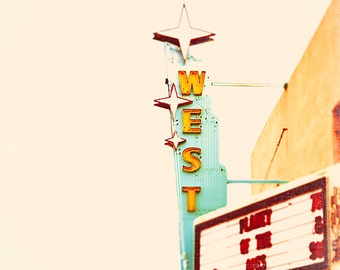 Color Photography, vintage theatre sign, Route 66 color art print - Arizona, Planet of the Apes, crimson, mint, teal, whimsical wall art