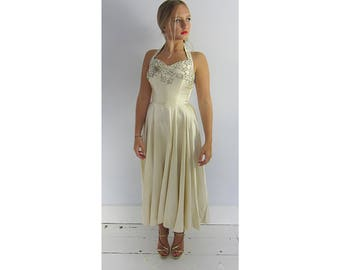 Vintage 40's cream satin beaded evening or wedding dress boned corset XS halter neck Hollywood old glamour