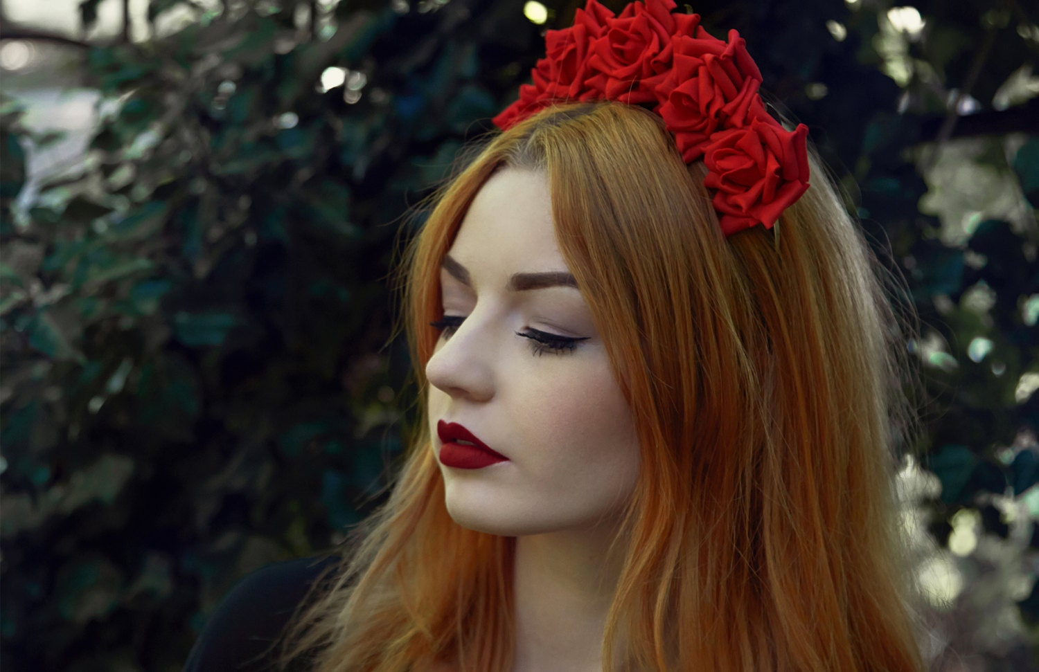 Red rose flower crown red rose headband red flower crown zoom izmirmasajfo