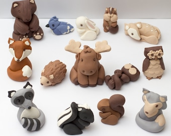 Fondant woodland animal cake toppers - Made to order - Estimated arrival date: May 3rd