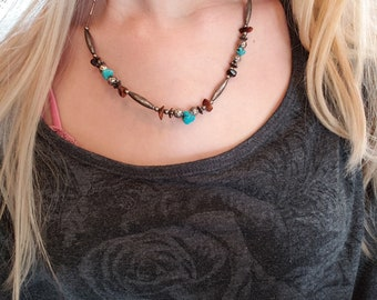 Handmade Hand Beaded Silver Tone Turquoise and Gemstone Beads Native American Style Necklace
