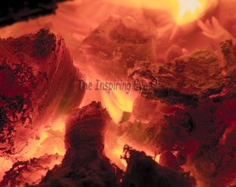 Photography Print, Embers, Fire, Red