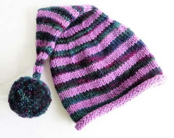 Fuchsia Pink Green Stripe Stocking Cap - Pompom - Child Size - Soft Hand Knit - Ready to Ship