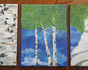 Set of 3 Birch Paintings