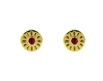 18k yellow gold ruby earrings timeless