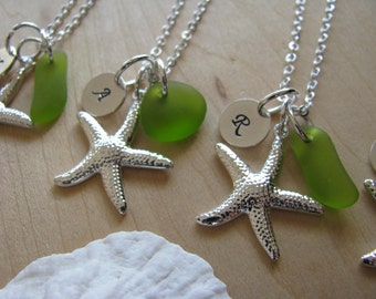 Green Sea Glass Starfish Necklace Personalized Stamped Letter Lime Green Beach Glass Bridesmaid Jewelry Beach Wedding Bridesmaids Gifts