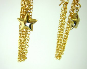 Gold star tassle earrings, Fourth of July star earrings, gold filled star chain earrings, New Years gold star earrings