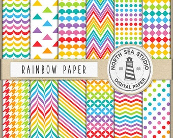 UNDER THE RAINBOW | Digital Paper Pack | Rainbow Scrapbook Paper | Printable Backgrounds | 12 Jpg, 300dpi Files | BUY5FOR8