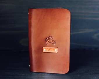 SALE 50% Personalized Leather journal, Notebook, Travel Diary, Journal, Sketchbook, Brown stain, Horse, equestrian,  Custom name initials