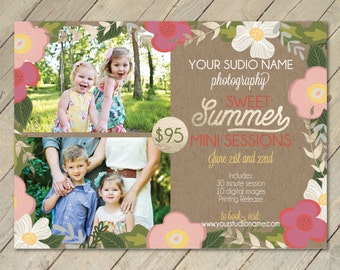 INSTANT DOWNLOAD Sweet Summer Mini Session Photoshop Template Gold Foil Kraft and Floral