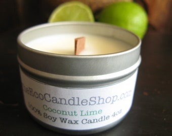 Coconut lime scented soy wax candle with wooden wick in 4oz travel tin