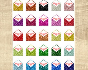 25 Multi-Coloured Glitter Look Happy Mail Stickers