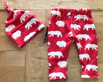 Camp Out Hat & Pants Set, Leggings, Baby, Girl, Boy, Red, Woodland, Gift, Bears, Newborn