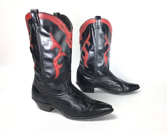 Size 10 M - Acme Dingo Vintage Womens Cowboy Western Boots Black With Red Flame Inlays