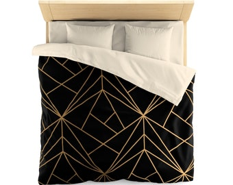 Classy duvet cover, black and gold geometric pattern, bedding