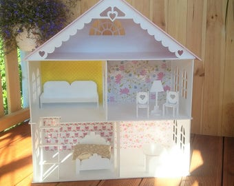 Dollhouse with stairs and furniture, Gift for Girl, Wooden dollhouse, Dollhouse furniture, Wood dollhouse, Doll House, Wooden doll house