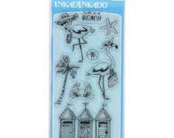 Inkadinkado Clear Acrylic Stamp Set - FLAMINGO FUN: Life is a Beach, Outhouse, Starfish, Sand Dollar, Crab - CS037