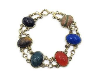 Scarab Gemstone Gold Filled Bracelet - Onyx, Tigers Eye, Chrysoprase, Carnelian, Chalcedony, Unakite, Vintage Bracelet, Scarab Jewelry