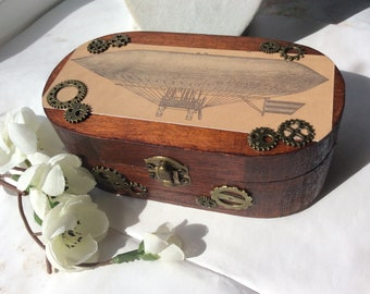 Steampunk Wooden jewellery box trinket ring gift box vintage style airship zeppelin dirigible gift for her birthday anniversary wood