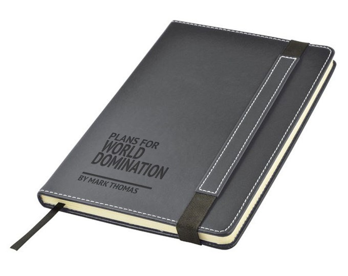 Engraved leather PU notebook journal personalised gift idea, Plans for WORLD DOMINATION note book - 1875-LN4