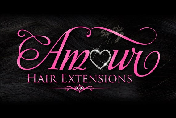 Hair Extensions Business Logo, Hair Tag Logo, Hang Tag Logo, Hair Logo, Bling Logo on Hair Texture, Pink Lettering Logo Design for Hair