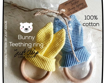 Cute Bunny Ears bite rings for babies-handmade-crochet