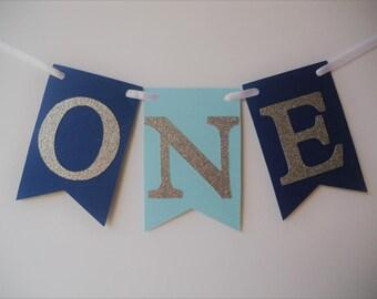 First Birthday High Chair Banner, Highchair Banner, Flag Banner, First Birthday, 1st Birthday, Blue Banner, Cake Smash Photo Prop, I Am One