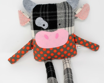 Cow Plush-Cow Stuffed Animal-Cow Softie-Stuffed Cow-Cow Toy-RePurposed-UpCycled-White and Black Plaid-Black and White Cow-Red Polka Dot