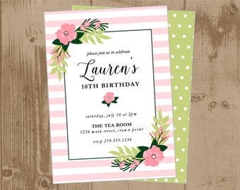 Printable Invitation - Sweet Pink and Green Floral Flowers - Girls Birthday - Wedding Bridal Shower - tea party - garden party - baptism