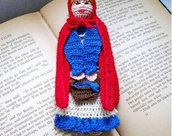 crochet PDF pattern, little red riding hood bookmark, fairytale crochet instructions,  shadow box art diy, home decor diy, unique bookmark