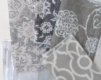 Gray Fabric Scraps Bundle,Anderson, Backdrop Lyon, Adele, Metal and Mist Belmont,  Home Decor Premier Prints REMNANT CUTS