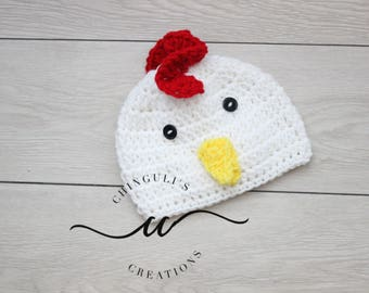 Crochet Rooster Hat Baby White Rooster Hat Baby Crochet Rooster Hat Newborn White Chicken Hat